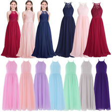 Girl Kid Lace Princess Dress Party Bridesmaid Wedding Pageant Flower Formal Gown