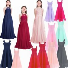 Flower Girl Long Bridesmaid Wedding Dress Christening Party Prom Princess Dress