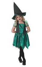 Girls Kids Childs Green Witch Fancy Dress Costume Outfit Rubies Halloween Scary
