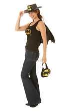 Womens Ladies Batgirl Top With Cape Fancy Dress Costume Outfit Superhero