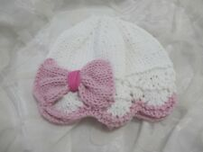 HAND KNITTED BABY HAT WHITE / PINK LACY BOW  COOL COTTON SUMMER AGE NB-24 MTHS