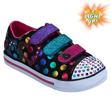 Children Girls Skechers Chit Chat Street Beat Trainers In Black-Hook And Loop