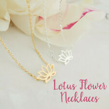 Lotus Flower Blossom Necklace ~ 18K Gold Plate or Silver ~ Namaste Yoga Charm