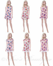 New Ladies Cotton Summer Dress Floral Print Size 10 12 14 16 Holiday Womens Lace