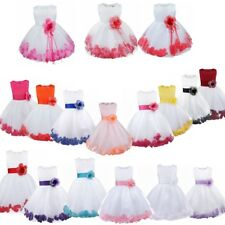 Petal Flower Girl Dress Gown Prom Bridesmaid Wedding Formal Party Princess Dress
