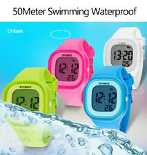 Waterproof Girl Boy Kids LED Digital Sports Candy Silicone Sport Wrist Watch