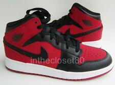 Nike Air Jordan 1 Mid GS BG Bred Red Black Juniors Boys Girls Trainer 554725 610