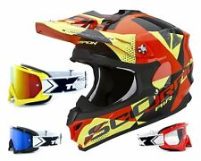 SCORPION VX-15 EVO Casco MX AKRA ORANGE GIALLO incl. TWO-X RACE OCCHIALI DA