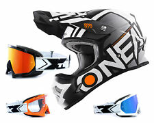 Oneal 3series CASCO CROSS Radio Negro Blanco con two-x Carrera Gafas MOT