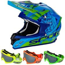 SCORPION VX-15 AIR kistune Casco da motocross - BLU VERDE + mx-bude MX-2