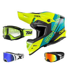 ONEAL 8Series NANO Casco da Cross Motocross MX BLU TWO-X ROCKET OCCHIALI