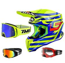 AIROH CASCO DA CROSS TORSIONE MX Cairoli QATAR GIALLO BLU TWO-X ROCKET OCCHIALI