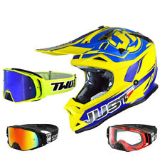 just1 j32 PRO RAVE Casco da cross MX BLU E GIALLO TWO-X ROCKET OCCHIALI