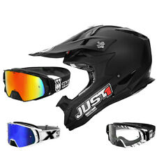 just1 j32 PRO Solid Casco da cross MX NERO TWO-X ROCKET OCCHIALI
