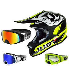 just1 j32 Pro Casco da cross MX GIALLO FLUO NERO TWO-X ROCKET OCCHIALI