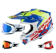 SCORPION VX-15 EVO AIR CASCO DA CROSS ARGO BLU E GIALLO TWO-X RACE MX OCCHIALI