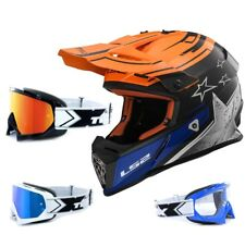 LS2 Casco da cross MX437 QUASI CORE NERO ARANCIONE ENDURO TWO-X RACE OCCHIALI