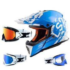 LS2 Casco da cross MX437 QUASI SPOT BIANCO BLU DA MOTOCROSS CASCO ENDURO TWO-X