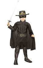Kids Boys Childs Deluxe Zorro Muscle Fancy Dress Costume Outfit Rubies Bandit
