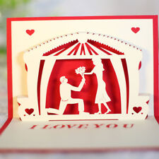 LK _ I LOVE YOU 3d Pop Up hecho a mano POSTALES Caballos REGALO DE BODA saludo