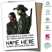 Westworld Maeve and Hector Personalised Birthday Card with Badge Option Season 2