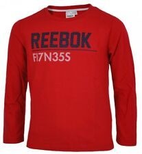 Reebok Long Sleeve T-Shirt camiseta Boys niños camisa manga larga roja