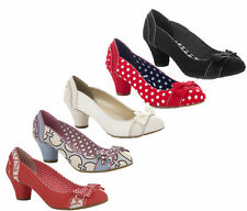 Ruby Shoo Hayley Bow High Heel Court Shoes UK 3-9 Black Red Spot Cream