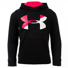 Junior Girls Under Armour Fleece Big Logo Hoodyin Black Loose Fit Pouch Pocket