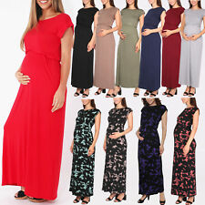 Maternity Oversized Short Sleeve Loose Long Stretch Jersey Summer Maxi Dress