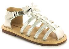 New Younger Girls/Childrens Silver Touch Fastening Closed Toe Sandals. UK Size