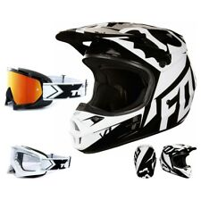 FOX BAMBINI V1 Race MX Casco da cross NERO BIANCO MOTOCROSS ENDURO TWO-X