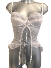 New White Underwired Push Up Basque Corselette Suspenders Ribbon lace up front
