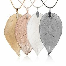 Fashion Womens Special Leaves Leaf Necklace Pendant Sweater Chain Jewellery Gift
