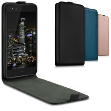 CUSTODIA ECOPELLE FLIP PER BQ AQUARIS X5 PLUS BORSA CASE ASTUCCIO INTEGRALE