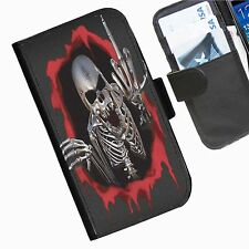 dedo de calavera Funda cartera cuero para móvil iPhone Samsung Blackberry Huawei