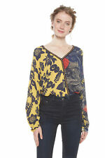 Desigual Nuuk Blouse Yellow Floral Gold Trim XS-XXL UK 8-18 RRP£74