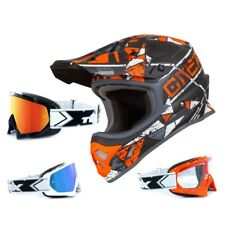 Oneal 3Series Casco da Cross Zen Arancione Two-X Occhiali Racing Motocross