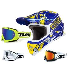 Oneal 3Series Casco da Cross Zen Blu Giallo TWO-X Gara Occhiali Motocross Enduro