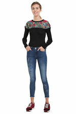 Desigual Blue Denim Michelle Jeans 26-34 UK8-16 RRP£84 Star Embroidery Ankle
