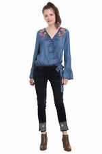 Desigual Blue Denim Kim Blouse Wrap Floral Embroidery XS-XXL UK 8-18 RRP£84