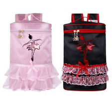 Kids Girls Ballet Dance Embroidered Ballerina Tiered Ruffled Tutu Bag Backpack