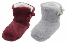Slumberzzz Ladies Plush Ribbon Bow Bootie Slippers