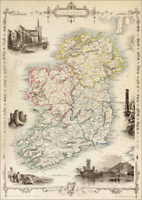 Póster, lienzo o cuadro en metacrilato Map Of Ireland by Thomas ... - K. Welsh
