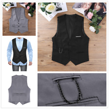 Sexy Men's Slim Fit Formal Business Vest V Neck Sleeveless Jacket Waistcoat Top