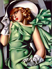 Poster, stampa su tela o vetro acrilico Young lady with gloves - T. Lempicka