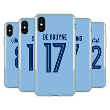 MAN CITY FC 2017/18 GIOCATORI HOME KIT 1 CASE IN GEL PER APPLE iPHONE TELEFONI