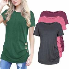 Donna Manica Corta Casual Bottoni Bordo Maglia Girocollo Tunica T-Shirt Top