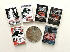 "3 x DOLLS HOUSE MINIATURE ""JURASSIC PARK"" BOOKS Choose Cover Style HANDMADE 1:12"