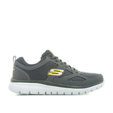 Mens Skechers Burns Agoura Trainers In Charcoal- Lace Fastening- Padded Collar