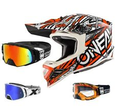 Oneal 8Series Synthy Motocross Mx Casco Arancio Bianco Two-X Rocket Occhiali da